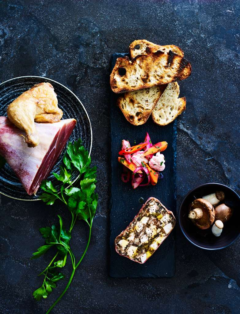 Chicken-and-wild-mushroom-terrine,-Prosciutto,-house-made-pickles,-toast--052